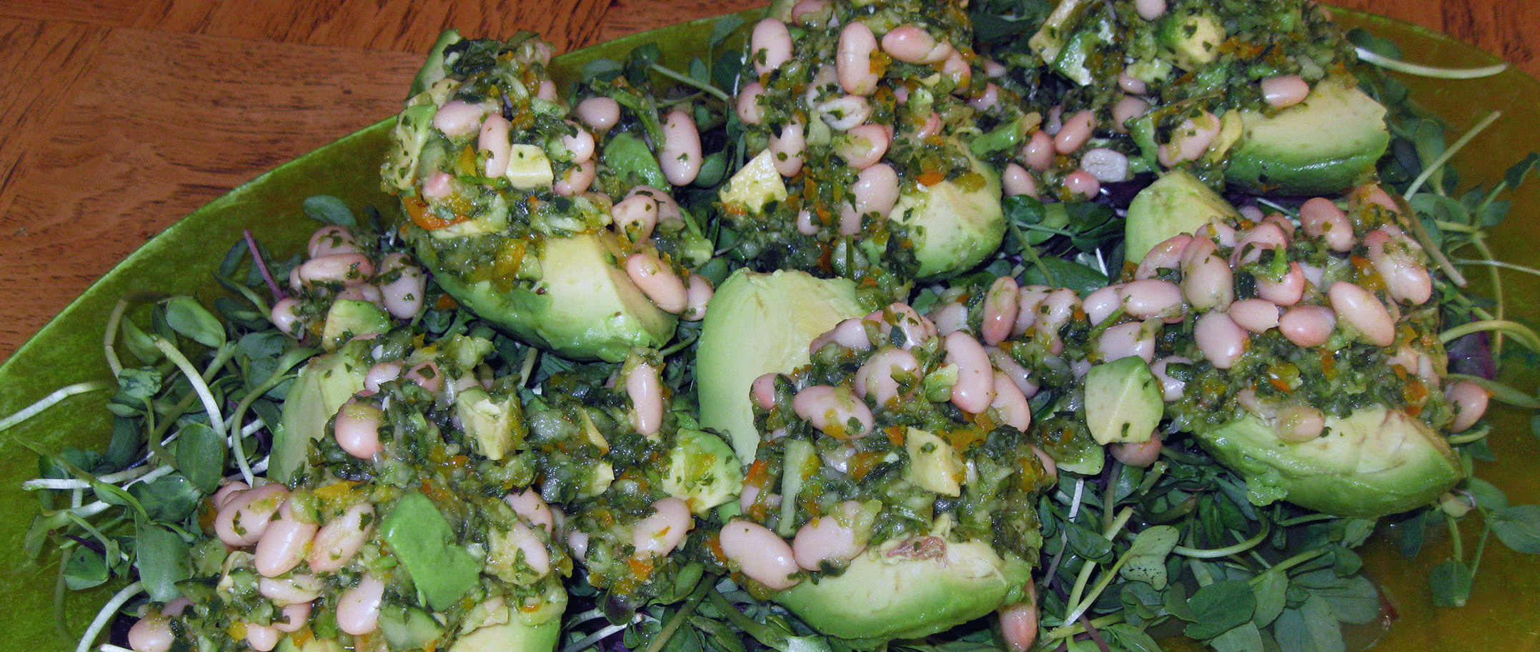 Platter of Avocados stuffed with White Beans and Green Salsa